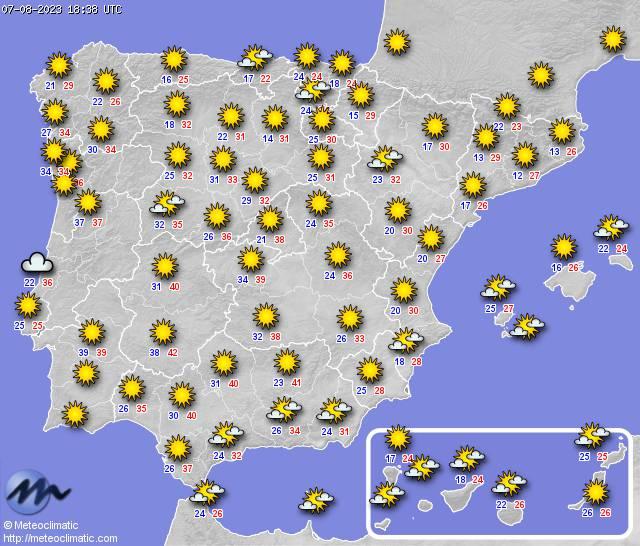 Mapa condiciones actuales en España
